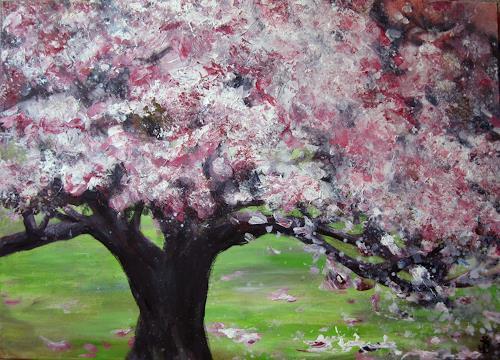Renée König, Sehnsucht nach Frühling, Pflanzen: Bäume, Zeiten: Frühling, Neo-Impressionismus, Expressionismus