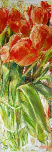 Renée König, Tulpenpower, Pflanzen: Blumen, Stilleben, Neo-Impressionismus