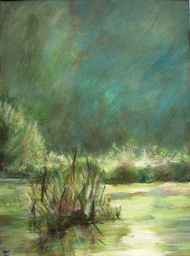Renée König, Nächtliche Lichter am See, Landschaft: See/Meer, Diverse Romantik, Neo-Impressionismus