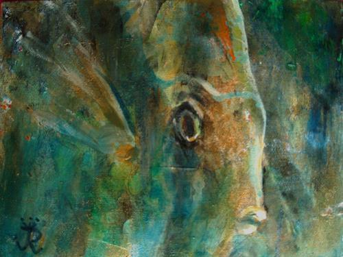 Renée König, Sieh mir in die Augen!, Dekoratives, Tiere: Wasser, Neo-Impressionismus, Expressionismus