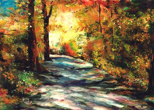 Renée König, Herbstweg, Gefühle: Freude, Landschaft: Herbst, Postimpressionismus, Expressionismus