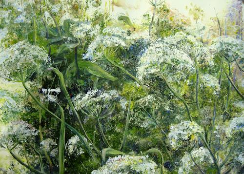 Renée König, Ein Tag im Sommer, Landschaft: Sommer, Pflanzen: Blumen, Neo-Impressionismus