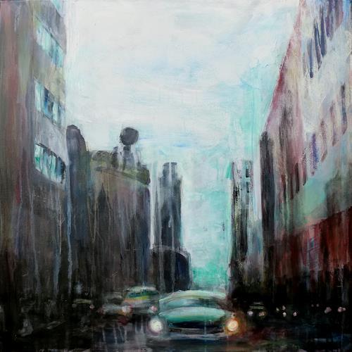 Renée König, Berlin - Leipziger Str., Architektur, Verkehr: Auto, Moderne, Abstrakter Expressionismus