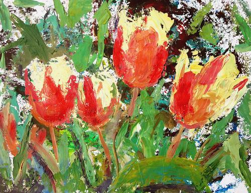 Renée König, Frühlingsgruß, Pflanzen: Blumen, Stilleben, Abstrakte Kunst