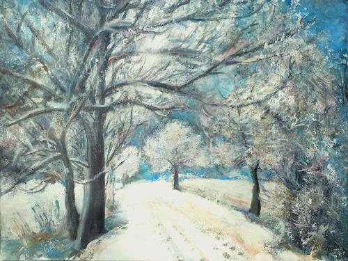 Renée König, Winterspaziergang, Landschaft: Winter, Pflanzen: Bäume, Neo-Impressionismus, Expressionismus