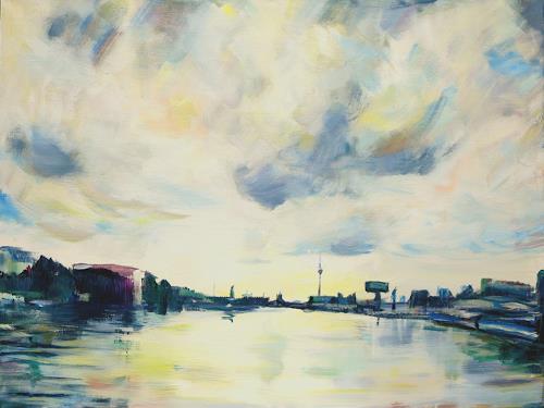 Renée König, Blick von der Oberbaumbrücke, Wohnen: Stadt, Diverse Romantik, Neo-Impressionismus