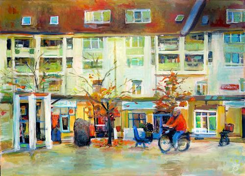 Renée König, Herbst auf der Piazza, Markt, Landschaft: Herbst, Postimpressionismus, Expressionismus