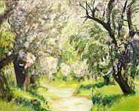 Renee-Koenig-Landschaft-Fruehling-Pflanzen-Baeume-Moderne-Impressionismus-Postimpressionismus