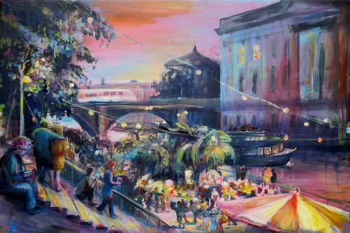 Renée König, Sommerabend am Bodemuseum, Romantik: Sonnenuntergang, Party/Feier, Neo-Impressionismus