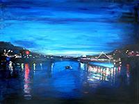 Renee-Koenig-Landschaft-See-Meer-Romantik-Sonnenuntergang-Moderne-Impressionismus-Postimpressionismus