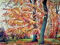 Renee-Koenig-Landschaft-Herbst-Pflanzen-Baeume-Moderne-Impressionismus-Postimpressionismus