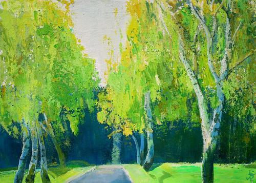 Renée König, Das erste Grün, Landschaft: Frühling, Pflanzen: Bäume, Postimpressionismus