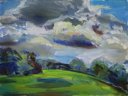 Renée König, Wolken über den Elbwiesen, Landschaft: Ebene, Bewegung