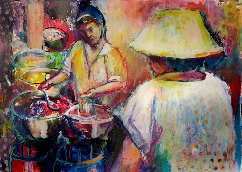 Renée König, Diese Suppe, bitte!, Diverse Menschen, Markt, Postimpressionismus, Abstrakter Expressionismus