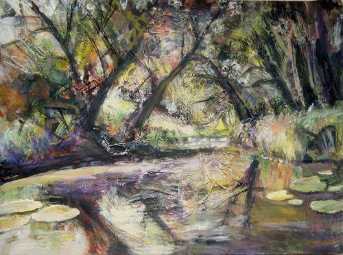 Renée König, Am Weiher, Landschaft: Sommer, Natur: Wasser, expressiver Realismus, Expressionismus
