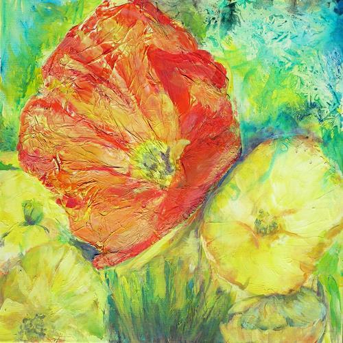 Renée König, Entknittert, Pflanzen: Blumen, Dekoratives, expressiver Realismus, Expressionismus