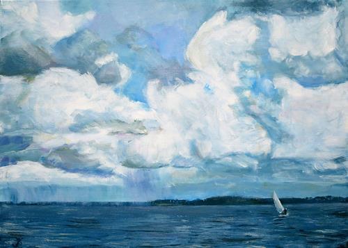 Renée König, Usedomer Wolken, Landschaft: See/Meer, Landschaft: Sommer, Postimpressionismus