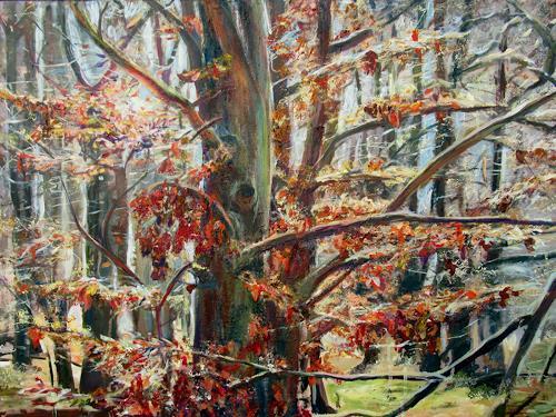 Renée König, Buche im Februar, Landschaft: Winter, Pflanzen: Bäume, Postimpressionismus, Expressionismus