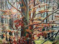 Renee-Koenig-Landschaft-Winter-Pflanzen-Baeume-Moderne-Impressionismus-Postimpressionismus