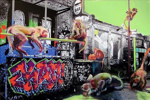 Renée König, Die Affen sind los!, Skurril, Party/Feier, Postsurrealismus, Abstrakter Expressionismus