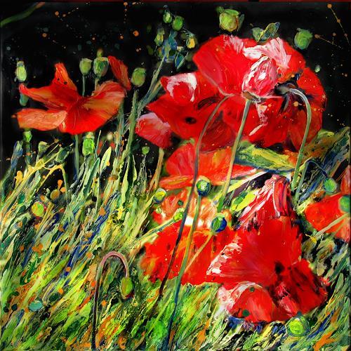 Renée König, Wilder Mohn II, Landschaft: Sommer, Pflanzen: Blumen, expressiver Realismus
