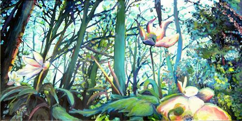 Renée König, Buschwindröschen aus Ameisensicht, Landschaft: Frühling, Pflanzen: Blumen, expressiver Realismus