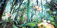 Renee-Koenig-Landschaft-Fruehling-Pflanzen-Blumen-Moderne-expressiver-Realismus