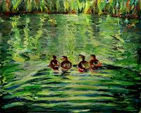 Renee-Koenig-Landschaft-Fruehling-Tiere-Wasser-Moderne-expressiver-Realismus