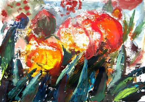 Renée König, Freude, Pflanzen: Blumen, Abstraktes, Neo-Expressionismus