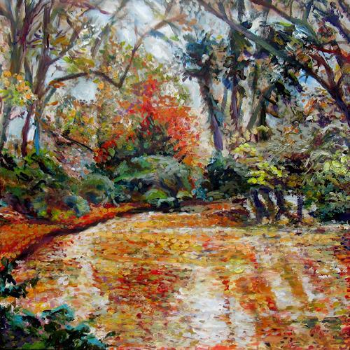 Renée König, Blätter im Teich, Landschaft: Herbst, Natur: Wasser, Postimpressionismus, Expressionismus