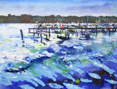 Renée König, Am Müggelsee, Landschaft: See/Meer, Natur: Wasser, expressiver Realismus, Expressionismus