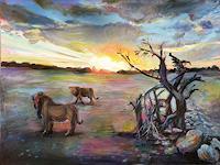 Renee-Koenig-Landschaft-Ebene-Tiere-Land-Moderne-Impressionismus-Postimpressionismus