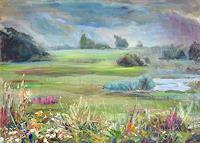Renee-Koenig-Landschaft-Ebene-Landschaft-Sommer-Moderne-Impressionismus-Postimpressionismus
