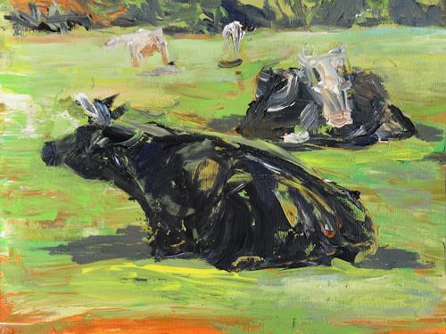 Renée König, Auf der Weide, Tiere: Land, Landschaft: Sommer, expressiver Realismus, Expressionismus