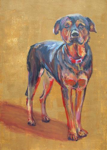 Renée König, Der Lieblingshund, Tiere: Land, Gefühle: Geborgenheit, Postimpressionismus, Expressionismus