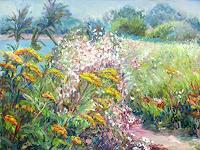 Renee-Koenig-Landschaft-Sommer-Pflanzen-Blumen-Moderne-Impressionismus-Neo-Impressionismus