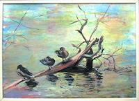 Renee-Koenig-Tiere-Wasser-Landschaft-See-Meer-Moderne-Impressionismus-Postimpressionismus