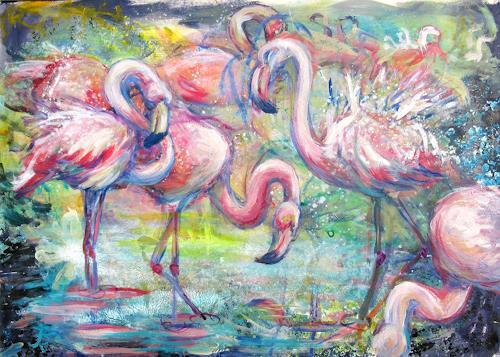 Renée König, Alltag der Flamingos, Tiere: Wasser, Natur: Wald, Postimpressionismus