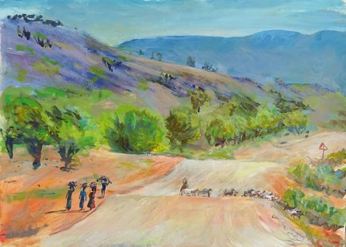 Renée König, Unterwegs in Namibia, Landschaft: Ebene, Menschen: Gruppe, Postimpressionismus, Expressionismus