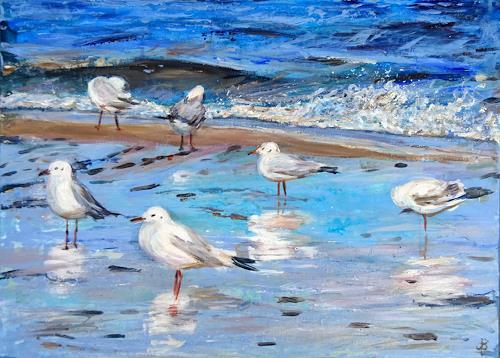 Renée König, Ostsee-Möwen, Landschaft: See/Meer, Tiere: Luft, Postimpressionismus, Expressionismus