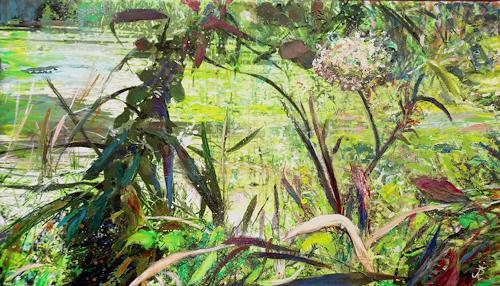 Renée König, Im Grünen, Landschaft: Sommer, Landschaft: Ebene, Gegenwartskunst, Expressionismus