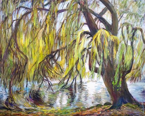 Renée König, Weide, Landschaft: Frühling, Pflanzen: Bäume, Neo-Impressionismus