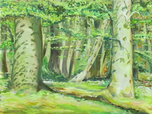 Renée König, Sommersprossen im Buchenwald, Landschaft: Frühling, Natur: Wald, Postimpressionismus, Expressionismus
