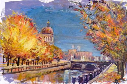Renée König, Herbst am Schloss, Landschaft: Herbst, Diverse Bauten, Postimpressionismus