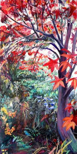 Renée König, Unter'm roten Ahorn, Landschaft: Herbst, Pflanzen: Bäume, Postimpressionismus, Expressionismus