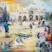 Renee-Koenig-Diverse-Menschen-Bauten-Kirchen-Moderne-Impressionismus-Postimpressionismus