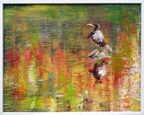 Renée König, Warten auf den Fisch, Landschaft: Herbst, Tiere: Wasser, expressiver Realismus