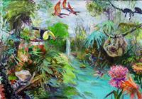 Renee-Koenig-Landschaft-Tropisch-Diverse-Tiere-Gegenwartskunst-Gegenwartskunst