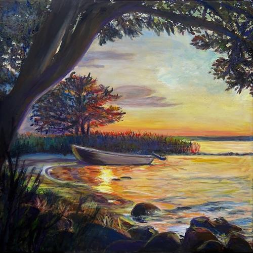 Renée König, Sonnenuntergang in Warthe am Achterwasser, Romantik: Sonnenuntergang, Natur: Wasser, Realismus, Expressionismus
