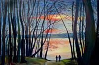 Renee-Koenig-Landschaft-Winter-Romantik-Sonnenuntergang-Neuzeit-Realismus